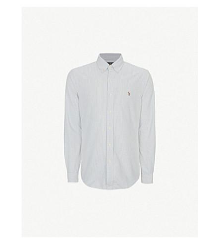 Polo Ralph Lauren Striped Oxford Fit Single Cuff Shirt In Bsr Blue/white Stripe
