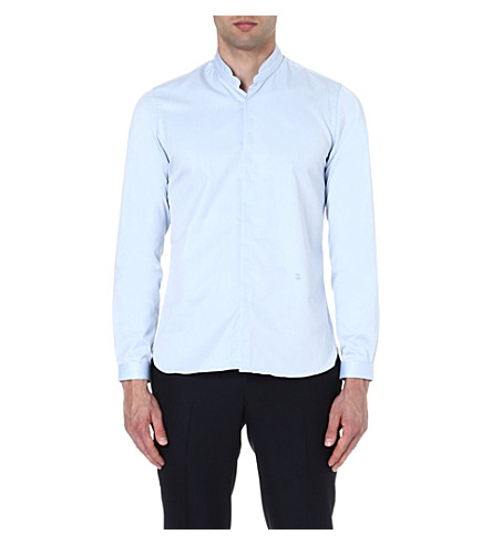 The Kooples Stand-collar Slim-fit Shirt In Light Blue