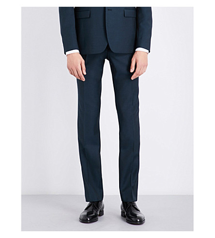 Sandro Slim-fit Tapered Wool And Mohair-blend Pants In Peacock Blue