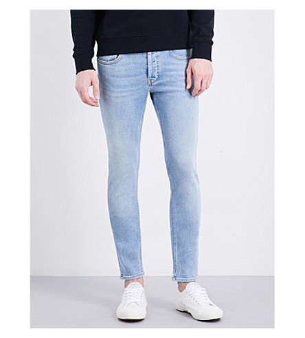 Sandro Slim-fit Mid-rise Tapered Jeans In Light Blue