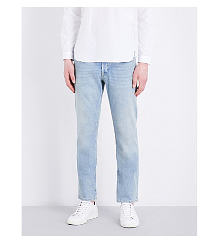 Sandro Regular-fit Tapered Stretch-denim Jeans In Blue Vintage