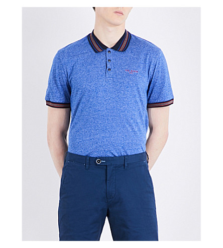 Ted Baker Fore Marl Cotton-blend Polo Shirt In Bright Blue