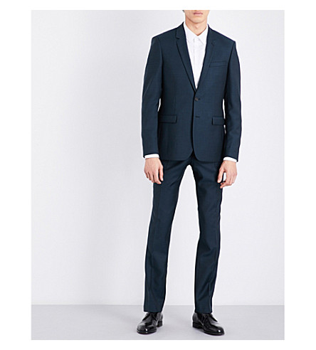 Sandro Slim-fit Wool And Mohair-blend Jacket In Peacock Blue