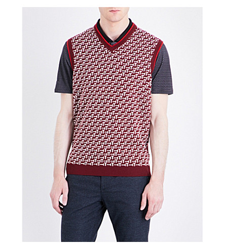 Ted Baker Tommas Patterned Wool Tank Top In Dark Red