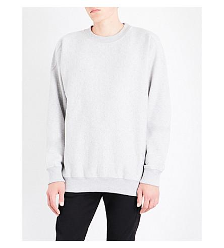Calvin Klein Oversized Cotton-blend Sweatshirt In Light Grey Heather