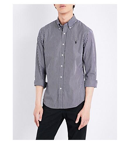Polo Ralph Lauren Slim-fit Striped Cotton Shirt In 1782 Black/whit