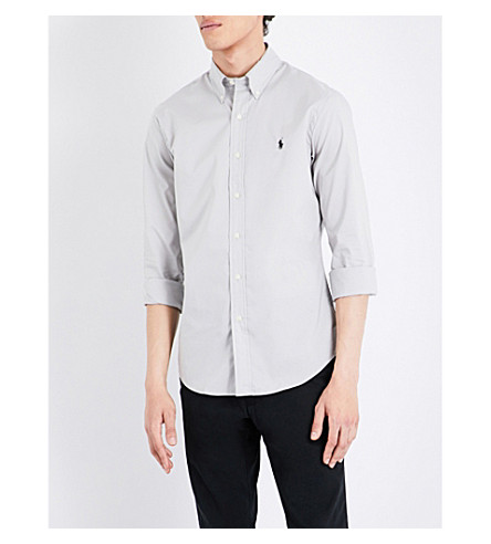 Polo Ralph Lauren Slim-fit Stretch-cotton Sports Shirt In Silver Smoke