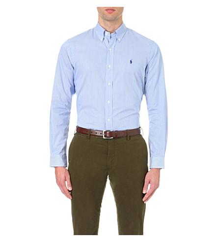 Polo Ralph Lauren Standard-fit Single-cuff Striped Cotton Shirt In Black White Che