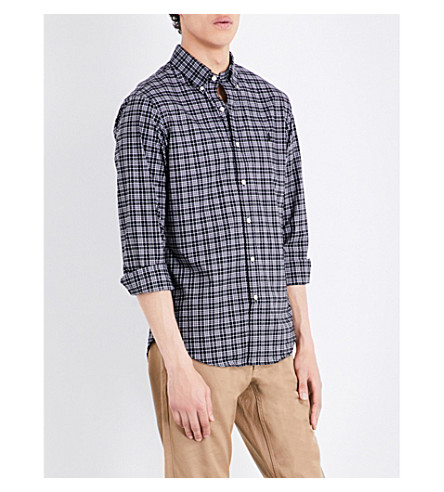 Polo Ralph Lauren Slim-fit Checked Cotton Shirt In 1786 Black/whit