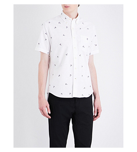 Polo Ralph Lauren Anchor-embroidered Slim-fit Cotton Shirt In Bsr White