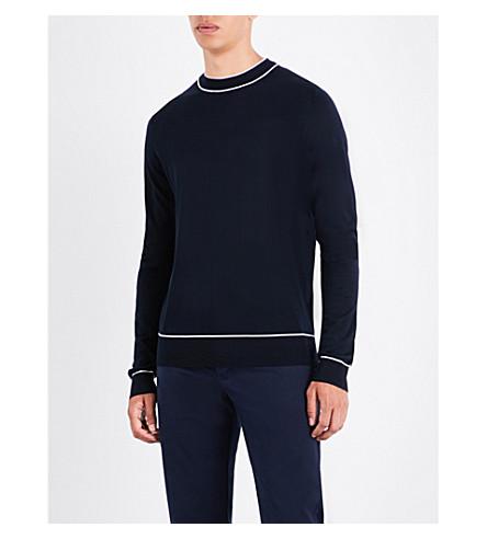 Sandro Crewneck Wool Sweater In Navy Blue