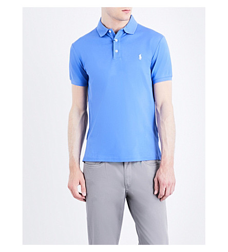 Polo Ralph Lauren Slim-fit Stretch Cotton-mesh Polo Shirt In Scottsdale Blue