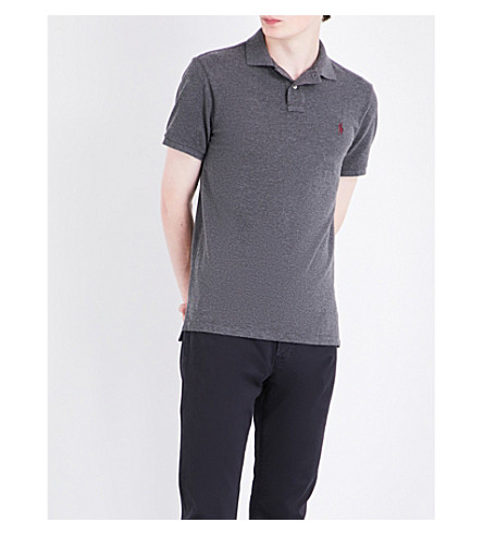 Polo Ralph Lauren Logo-embroidered Custom Slim-fit Cotton-mesh Polo Shirt In Stadium Grey He