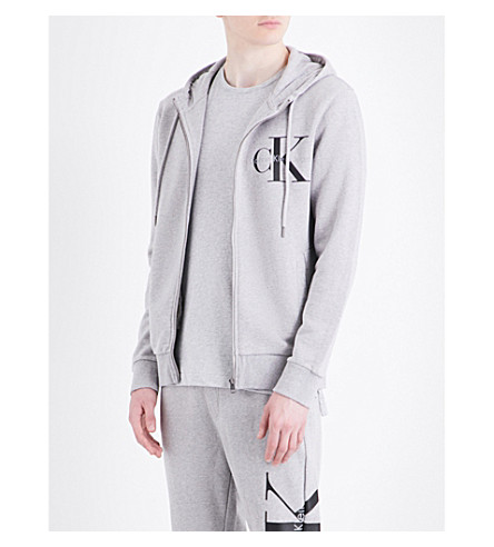 Calvin Klein Logo-print Cotton-jersey Hoody In Light Grey Heather