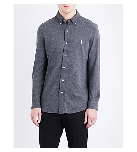 Polo Ralph Lauren Regular-fit Button-down Cotton-mesh Shirt In Stadium Grey He