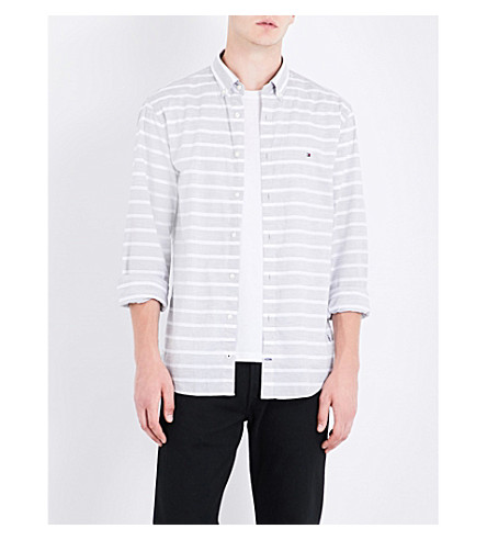 Tommy Hilfiger Bold New York-fit Cotton Shirt In Cloud Htr / Bright White