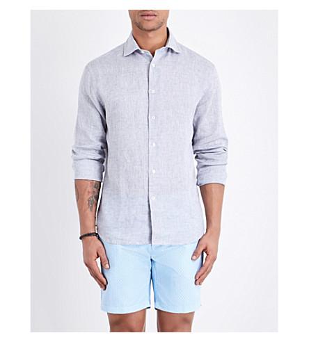 Frescobol Carioca Regular-fit Linen Shirt In Melange Grey
