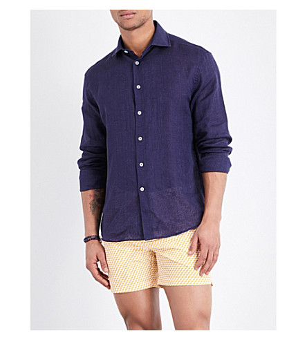 Frescobol Carioca Regular-fit Linen Shirt In Midnight Blue