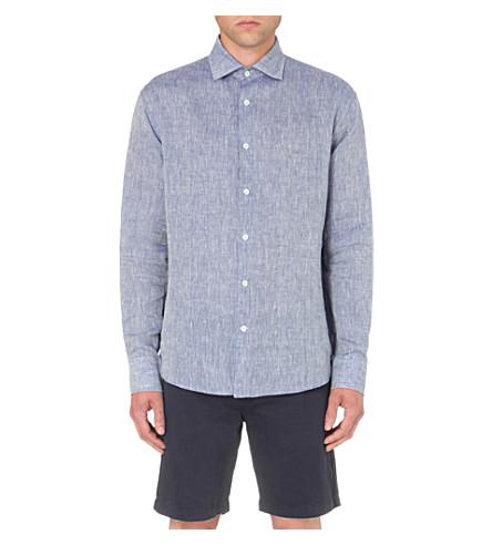 Frescobol Carioca Regular-fit Linen Shirt In Melange Blue