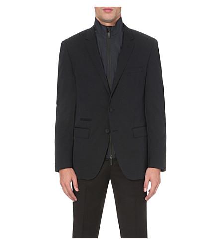 Hugo Boss Vest-detail Wool-blend Jacket In Dark Blue