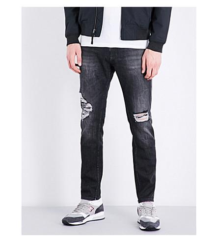Calvin Klein Slim-fit Tapered Stretch-denim Jeans In Black Jack Destructed