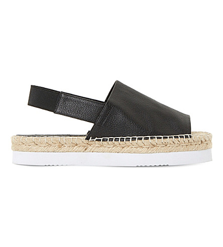 Dune Lucindie Leather Espadrille Sandals In Black-leather