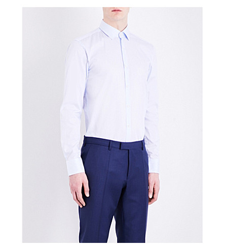 Hugo Boss Striped Slim-fit Cotton Shirt In Light/pastel Blue