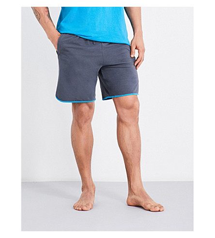 Hugo Boss Contrast Trim Stretch-jersey Shorts In Mid Grey Blue