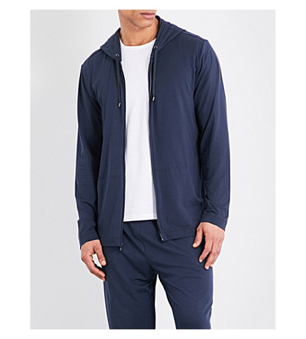 Calvin Klein Infinite Cotton-modal Pyjama Hoody In Carbon Blue