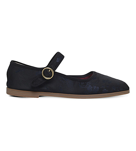 Alexa Chung Mary-jane Leather Ballet Pumps In Blk/blue