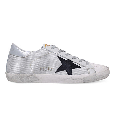 Golden Goose Superstar C39 Mesh And Leather Trainers In White/oth