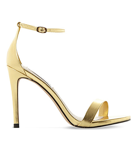 Steve Madden Stecy Metallic Faux-leather Sandals In Gold-synthetic