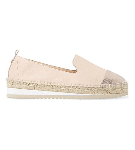 Dune Guest Leather Metallic Toe Espadrilles In Nude-leather