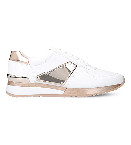 Michael Michael Kors Allie Metallic Leather Trainers In Pink Comb