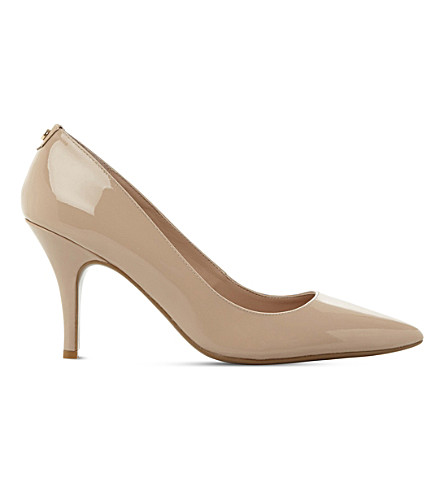 Dune Aeryn Slip-on Patent-leather Court Shoes In Nude-patent