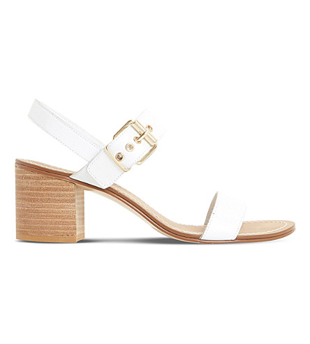 Dune Jany Leather Block Heel Sandals In White-leather
