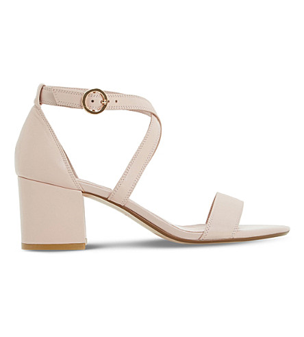Dune Montie Cross-strap Leather Sandals In Blush-leather