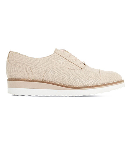 Dune Furley Reptile-effect Leather Flatforms In Nude-reptile