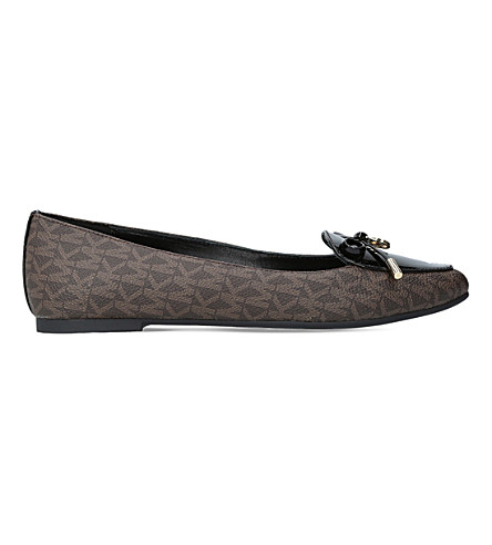 Michael Michael Kors Nancy Monogram Leather Flats In Dk.brn Com