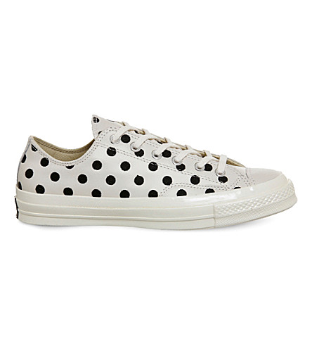 Converse All Star Ox 70s Leather Low-tops In Parchment Polka Dot
