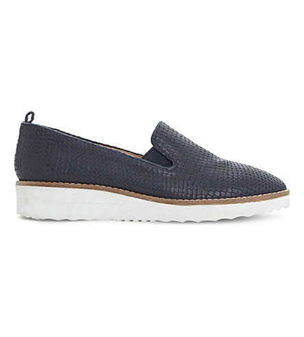 Dune Guise Leather Flatform Slippers In Navy-reptile