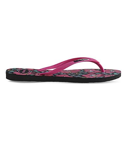 Havaianas Slim Floral-print Rubber Flip-flops In Black/orchid Rose