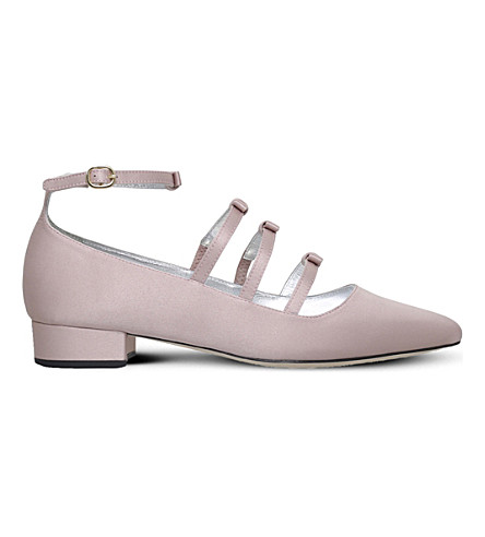 Alexa Chung Bow Square-toe Pumps In Pale Pink