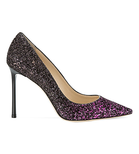 Jimmy Choo Romy 100 Coarse Glitter Courts In Pink/black