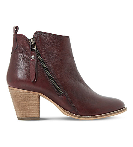 Dune Pontoon Leather Ankle Boots In Burgundy-leather