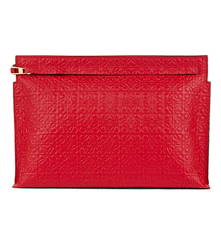 Loewe Logo-embossed Large Leather Pouch In Black