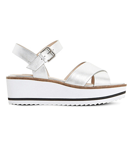 Dune Kassius Metallic-leather Sandals In Silver-leather