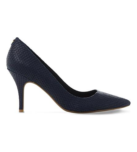 Dune Aeryn Mid-heel Flex Sole Court Shoes In Navy-reptile