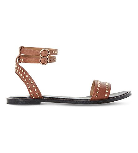 Dune Lagoma Pin Stud Leather Sandals In Tan-leather