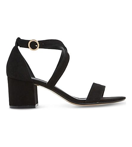 Dune Montie Criss-cross Suede Sandals In Black-suede